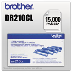 BRTDR210CL - Brother DR210CL Drum Unit, 15000 Page-Yield, Black, Cyan, Magenta, Yellow, 4 Color Set