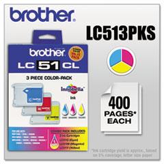 BRTLC513PKS - Brother LC513PKS Innobella Ink, 400 Pg-Yld, Cyan, Magenta, Yellow, 3/Pk