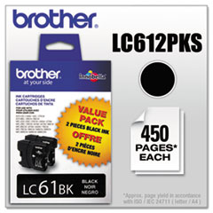 BRTLC612PKS - Brother LC612PKS (LC-61) Innobella Ink, 450 Page-Yield, 2/Pack, Black