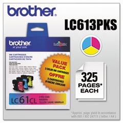 BRTLC613PKS - Brother LC613PKS (LC-61) Innobella Ink, 325 Page-Yield, 3/Pack, Cyan; Magenta; Yellow