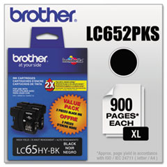 BRTLC652PKS - Brother LC652PKS (LC-65) Innobella High-Yield Ink, 900 Page-Yield, 2/Pack, Black