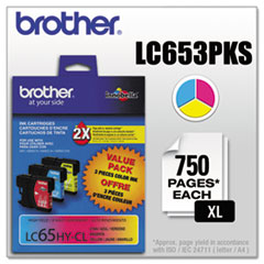 BRTLC653PKS - Brother LC653PKS (LC-65) Innobella High-Yield Ink, 900 Page-Yield, Cyan; Magenta; Yellow