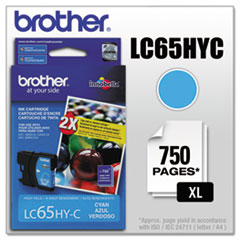 BRTLC65HYC - Brother LC65HYC (LC-65HYC) Innobella High-Yield Ink, 750 Page-Yield, Cyan