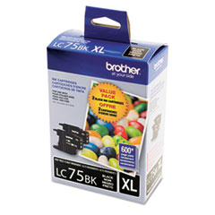 BRTLC752PKS - Brother LC752PKS (LC-75BK) Innobella High-Yield Ink, Black, 600 Page-Yield, 2/Pk