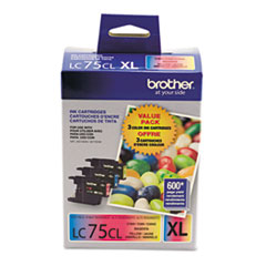 BRTLC753PKS - Brother LC753PKS (LC-75CMY) Innobella High-Yield Ink, CMY, Yellow, 600 Page-Yield, 3/Pk