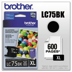 BRTLC75BK - Brother LC75BK (LC-75BK) Innobella High-Yield Ink, 600 Page-Yield, Black
