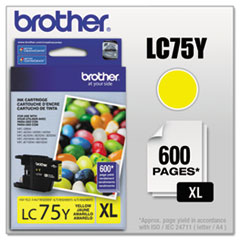 BRTLC75Y - Brother LC75Y (LC-75Y) Innobella High-Yield Ink, 600 Page-Yield, Yellow