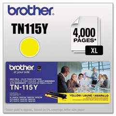 BRTTN115Y - Brother TN115Y High-Yield Toner, 4000 Page-Yield, Yellow