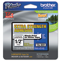 BRTTZES231 - Brother® P-Touch® TZ/TZe Series Extra-Strength Adhesive Laminated Labeling Tape