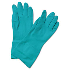 BWK183M - Flock-Lined Nitrile Gloves, Medium, Green, 13, Dozen