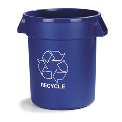 CFS341032REC14CS - CarlisleBronco™ Round Recycling Cans - 32 Gallon Capacity