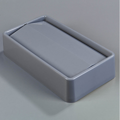 CFS342024-823CS - CarlisleTrimLine Rectangle Swing Top Waste Container Trash Can Lid 15 and 23 Gallon - Gray