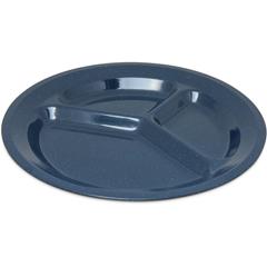 "CFS4351235CS - Carlisle - Dallas Ware® Melamine 3-Compartment Plate 11"" - Caf Blue"