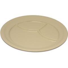 "CFS4351425CS - Carlisle - Dallas Ware® Melamine 3-Compartment Plate 9.75"" - Tan"