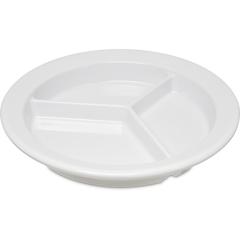 "CFS4351602CS - Carlisle - Dallas Ware® Melamine 3-Compartment Deep Plate 9"" - White"