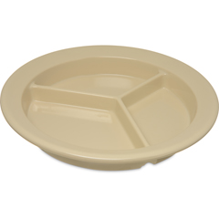 "CFS4351625CS - Carlisle - Dallas Ware® Melamine 3-Compartment Deep Plate 9"" - Tan"