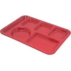 CFS4398005CS - CarlisleLeft-Hand Heavy Weight 6-Compartment Tray - Red