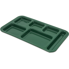 "CFS4398208CS - Carlisle - Right Hand 6-Compartment Melamine Tray, 15"" x 9"" - Forest Green"