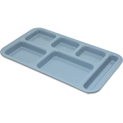 "CFS4398259CS - Carlisle - Right Hand 6-Compartment Melamine Tray, 15"" x 9"" - Slate Blue"