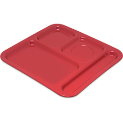"CFS4398405CS - Carlisle4-Compartment Tray 10-1/8"", 9-25/32"", 1/2"" - Red"