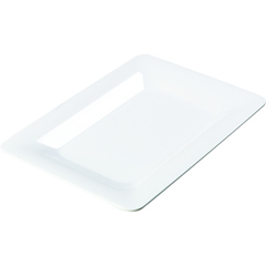 "CFS4441402CS - Carlisle - Designer Displayware Wide Rim Rectangle Platter 14"" x 10"" - White"