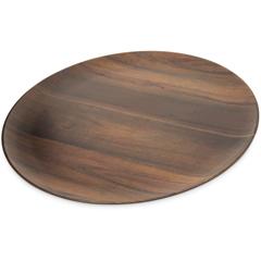 "CFSEAG0669CS - Carlisle - Epicure® Acacia Grain Round Platter 18"" - Dark Woodgrain"