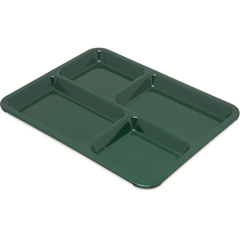 "CFSKL44408CS - Carlisle - 4-Compartment Tray 10-15/16"", 8-21/32"", 5/8"" - Forest Green"