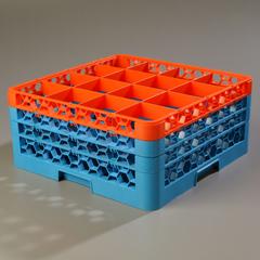 CFSRG16-3C412CS - CarlisleOpticlean 16 Compartment with 3 Extenders - Orange-Carlisle Blue