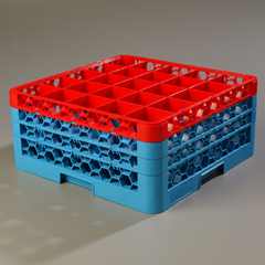 CFSRG25-3C410CS - CarlisleOpticlean 25-Compartment with 3 Extenders - Red-Carlisle Blue