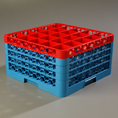 CFSRG25-4C410CS - CarlisleOpticlean 25-Compartment with 4 Extenders - Red-Carlisle Blue