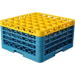 CFSRG36-4C411CS - CarlisleOpticlean 36-Compartment with 4 Extenders - Yellow-Carlisle Blue
