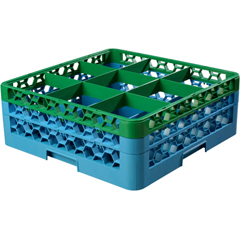 CFSRG9-2C413CS - CarlisleOpticlean 9-Compartment with 2 Extenders - Green-Carlisle Blue