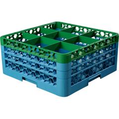 CFSRG9-3C413CS - CarlisleOpticlean 9-Compartment with 3 Extenders - Green-Carlisle Blue