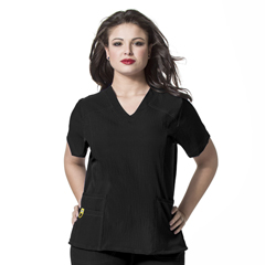 CID6105-BLK-4X - WonderWinkCurved V-Neck Top
