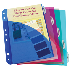 CLI03750BNDL12ST - C-Line ProductsMini Size 5-Tab Poly Index Dividers w/Slant Pockets, Assorted Colors