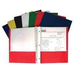 CLI05320BNDL100EA - C-Line ProductsRecycled 2-Pocket Paper Portfolios w/Prongs, Assorted