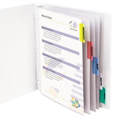 CLI05550BNDL6ST - C-Line ProductsPolypropylene Sheet Protectors w/Index Tabs, Assorted Color Tabs, 11 x 8 1/2