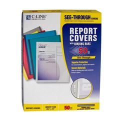 CLI32551 - C-Line Products - Vinyl Report Covers w/Binding Bars, Smoke, Black Binding Bars, 11 x 8 1/2