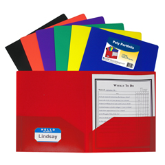 CLI33950BNDL18EA - C-Line Products2-Pocket Heavyweight Poly Portfolio Folder, Primary Colors