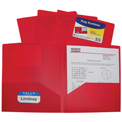 CLI33954BNDL18EA - C-Line Products - 2-Pocket Heavyweight Poly Portfolio Folder, Red