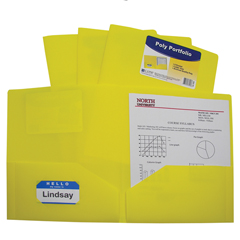 CLI33956BNDL18EA - C-Line Products2-Pocket Heavyweight Poly Portfolio Folder, Yellow