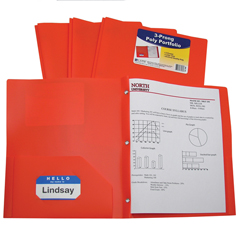 CLI33962BNDL12EA - C-Line Products2-Pocket Heavyweight Poly Portfolio Folder w/Prongs, Orange