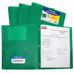 CLI33963BNDL12EA - C-Line Products - 2-Pocket Heavyweight Poly Portfolio Folder w/Prongs, Green