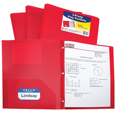 CLI33964BNDL12EA - C-Line Products2-Pocket Heavyweight Poly Portfolio Folder w/Prongs, Red