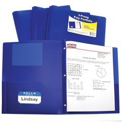CLI33965BNDL12EA - C-Line Products2-Pocket Heavyweight Poly Portfolio Folder w/Prongs, Blue