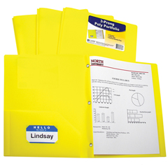 CLI33966BNDL12EA - C-Line Products2-Pocket Heavyweight Poly Portfolio Folder w/Prongs, Yellow