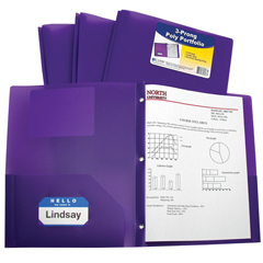 CLI33969BNDL12EA - C-Line Products2-Pocket Heavyweight Poly Portfolio Folder w/Prongs, Purple