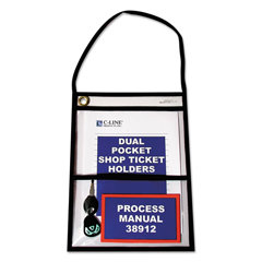 CLI38912 - C-Line Products2-Pocket Shop Ticket Holders w/Hanging Strap, Stitched, 9 x 12