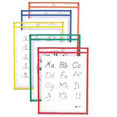 CLI40610 - C-Line ProductsReusable Dry Erase Pockets, Assorted Primary Colors, 9 x 12