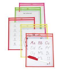 CLI41810BNDL2PK - C-Line Products - Reusable Dry Erase Pockets, Assorted Neon Colors, 6 x 9